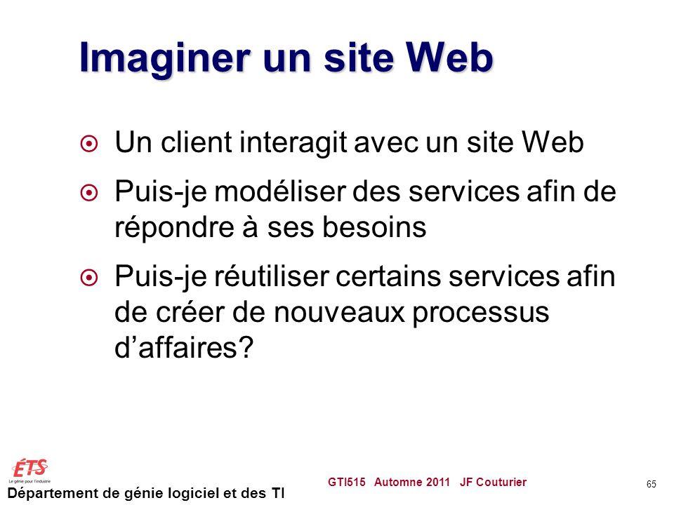 Département de génie logiciel et des TI Imaginer un site Web  Un client interagit avec un site Web  Puis-je modéliser des services afin de répondre