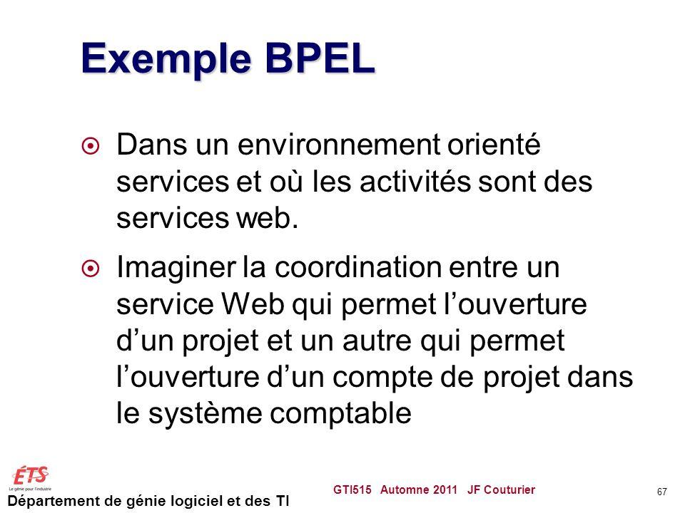 Département de génie logiciel et des TI Exemple BPEL  Dans un environnement orienté services et où les activités sont des services web.  Imaginer la
