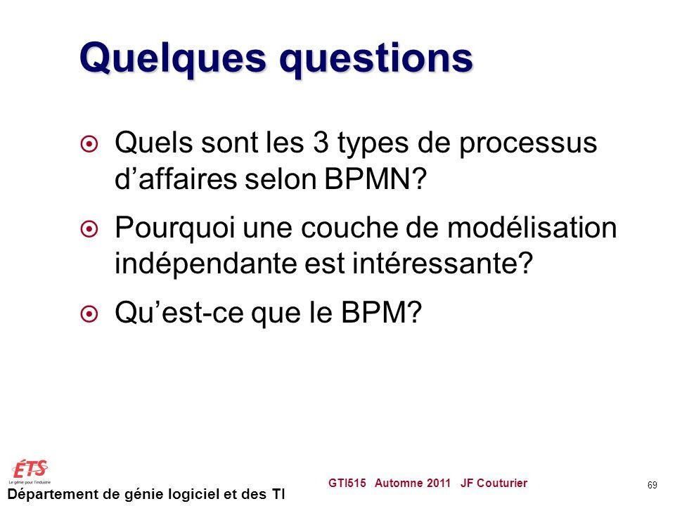 Département de génie logiciel et des TI Quelques questions  Quels sont les 3 types de processus d'affaires selon BPMN?  Pourquoi une couche de modél