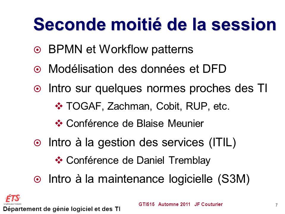 Département de génie logiciel et des TI Seconde moitié de la session  BPMN et Workflow patterns  Modélisation des données et DFD  Intro sur quelque