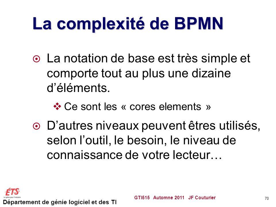 Département de génie logiciel et des TI La complexité de BPMN  La notation de base est très simple et comporte tout au plus une dizaine d'éléments. 