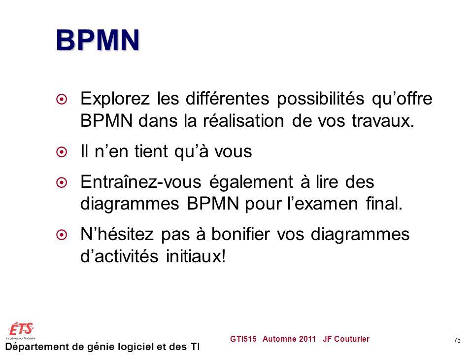 Département de génie logiciel et des TI BPMN  Explorez les différentes possibilités qu'offre BPMN dans la réalisation de vos travaux.  Il n'en tient