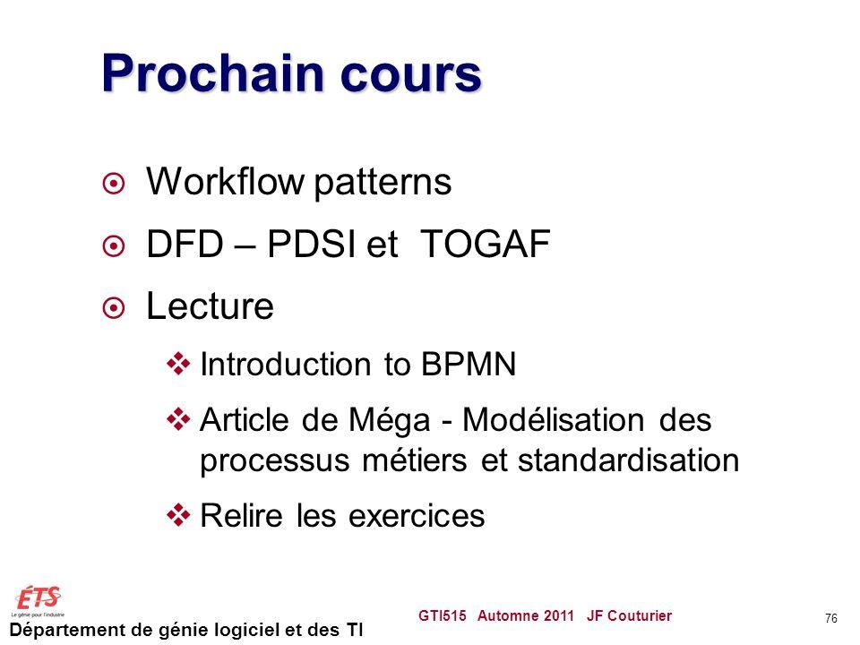 Département de génie logiciel et des TI Prochain cours  Workflow patterns  DFD – PDSI et TOGAF  Lecture  Introduction to BPMN  Article de Méga -
