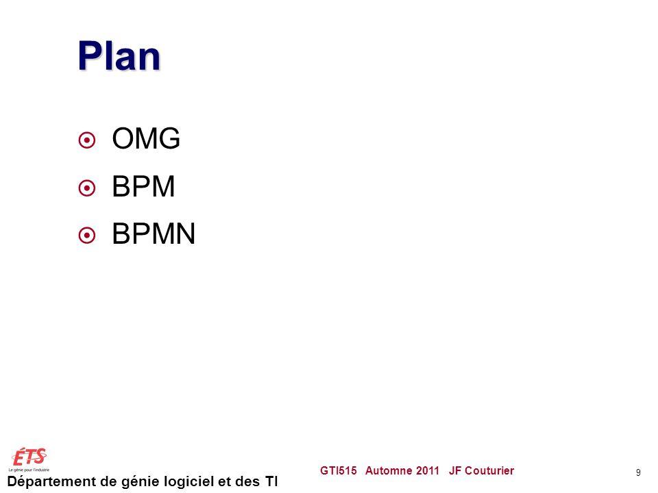 Département de génie logiciel et des TI Plan  OMG  BPM  BPMN GTI515 Automne 2011 JF Couturier 9