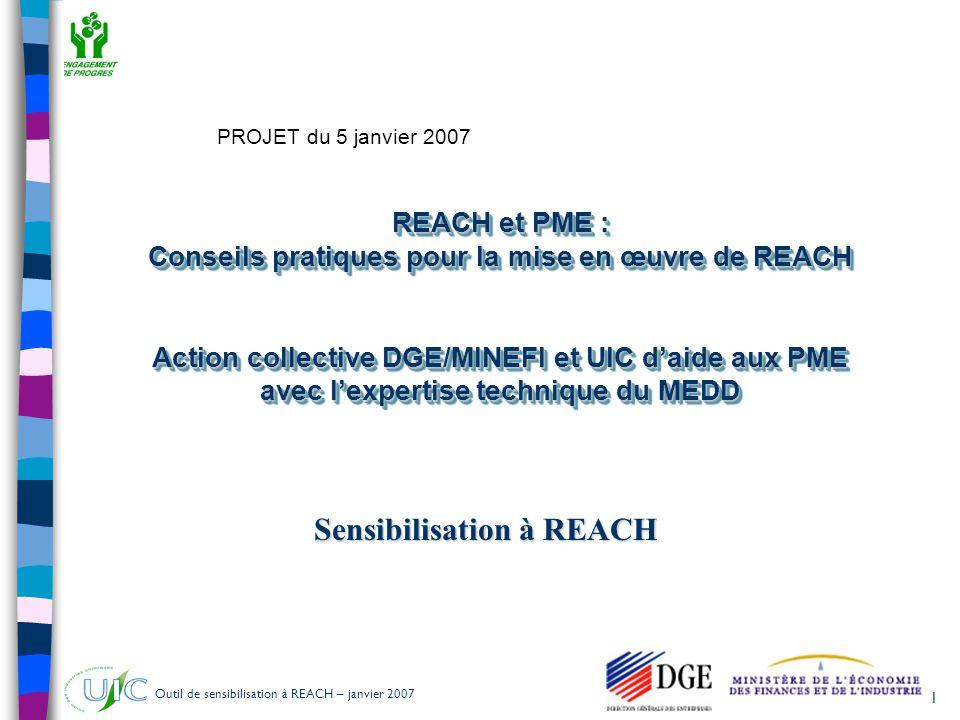 Outil de sensibilisation à REACH – janvier 2007 1 REACH et PME : Conseils pratiques pour la mise en œuvre de REACH Action collective DGE/MINEFI et UIC