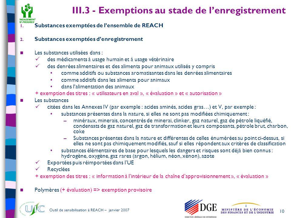 10 Outil de sensibilisation à REACH – janvier 2007 III.3 - Exemptions au stade de l'enregistrement 1. Substances exemptées de l'ensemble de REACH 2. S