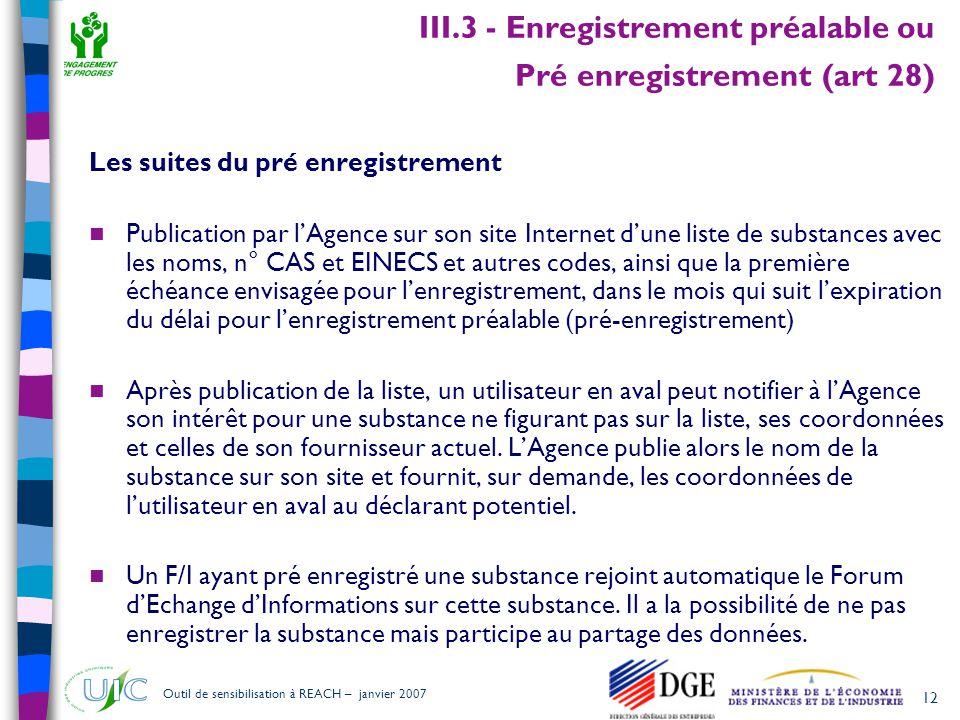 12 Outil de sensibilisation à REACH – janvier 2007 III.3 - Enregistrement préalable ou Pré enregistrement (art 28) Les suites du pré enregistrement 