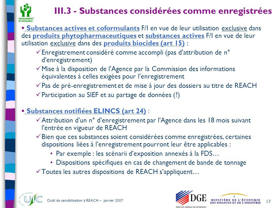 17 Outil de sensibilisation à REACH – janvier 2007 III.3 - Substances considérées comme enregistrées  Substances actives et coformulants F/I en vue d