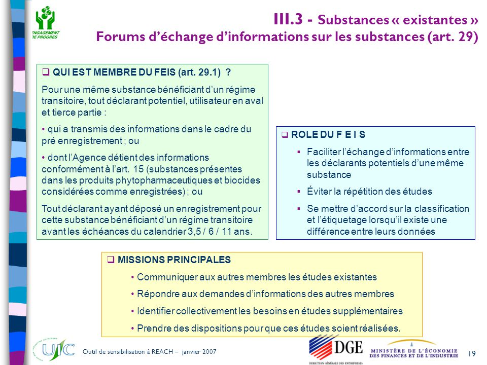19 Outil de sensibilisation à REACH – janvier 2007 III.3 - Substances « existantes » Forums d'échange d'informations sur les substances (art.