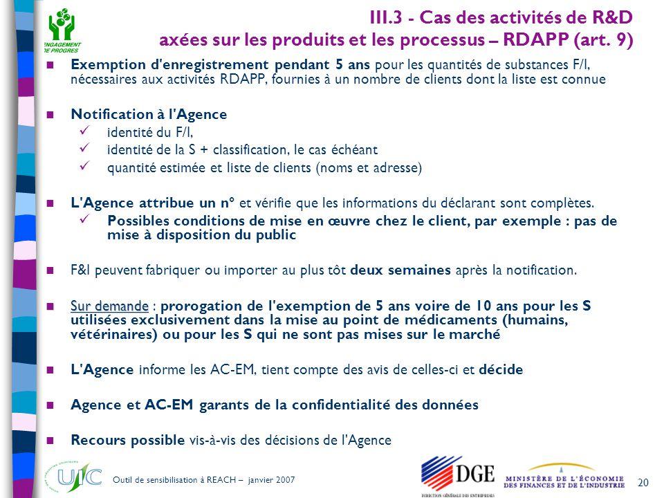 20 Outil de sensibilisation à REACH – janvier 2007 III.3 - Cas des activités de R&D axées sur les produits et les processus – RDAPP (art. 9)  Exempti