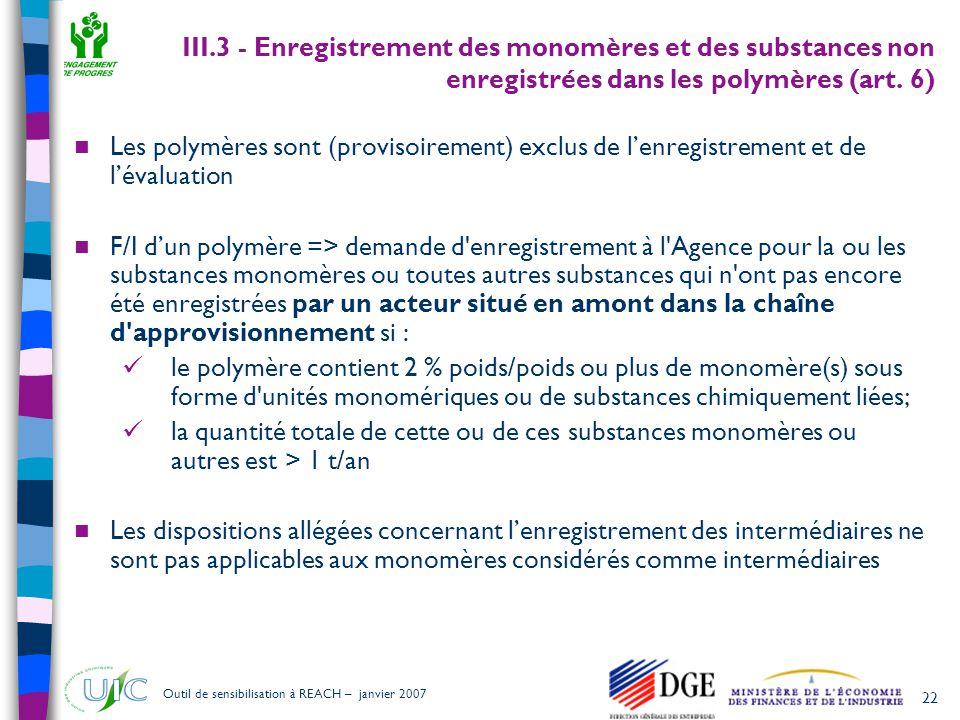 22 Outil de sensibilisation à REACH – janvier 2007 III.3 - Enregistrement des monomères et des substances non enregistrées dans les polymères (art. 6)