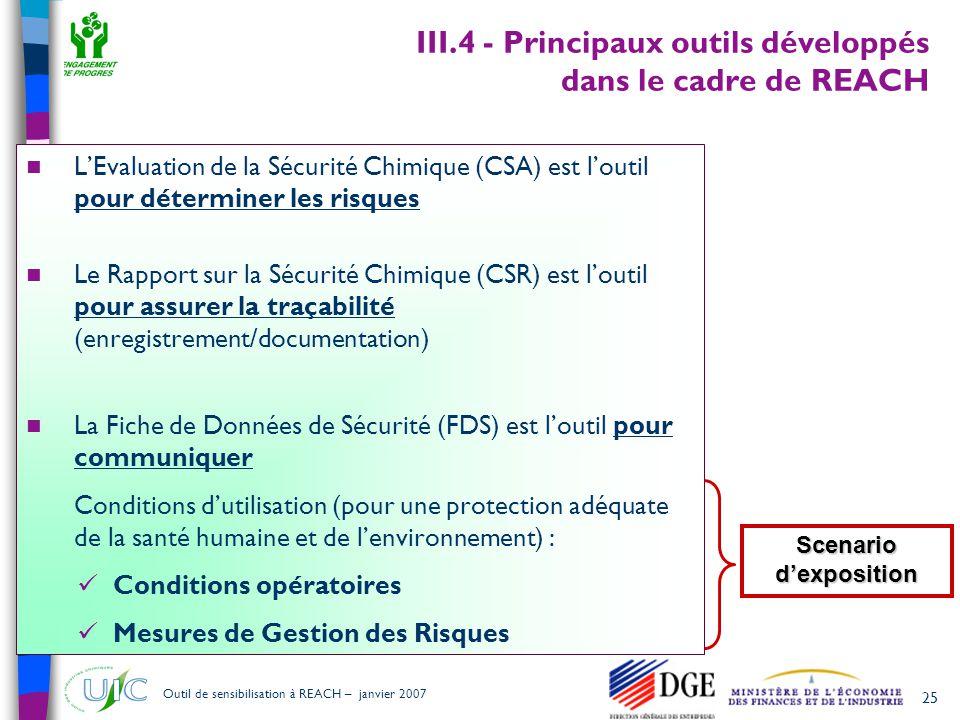 25 Outil de sensibilisation à REACH – janvier 2007 III.4 - Principaux outils développés dans le cadre de REACH  L'Evaluation de la Sécurité Chimique