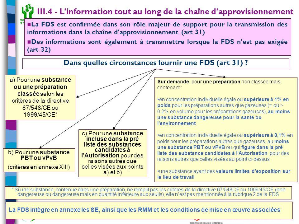 28 Outil de sensibilisation à REACH – janvier 2007 Dans quelles circonstances fournir une FDS (art 31) ? a) Pour une substance ou une préparation clas