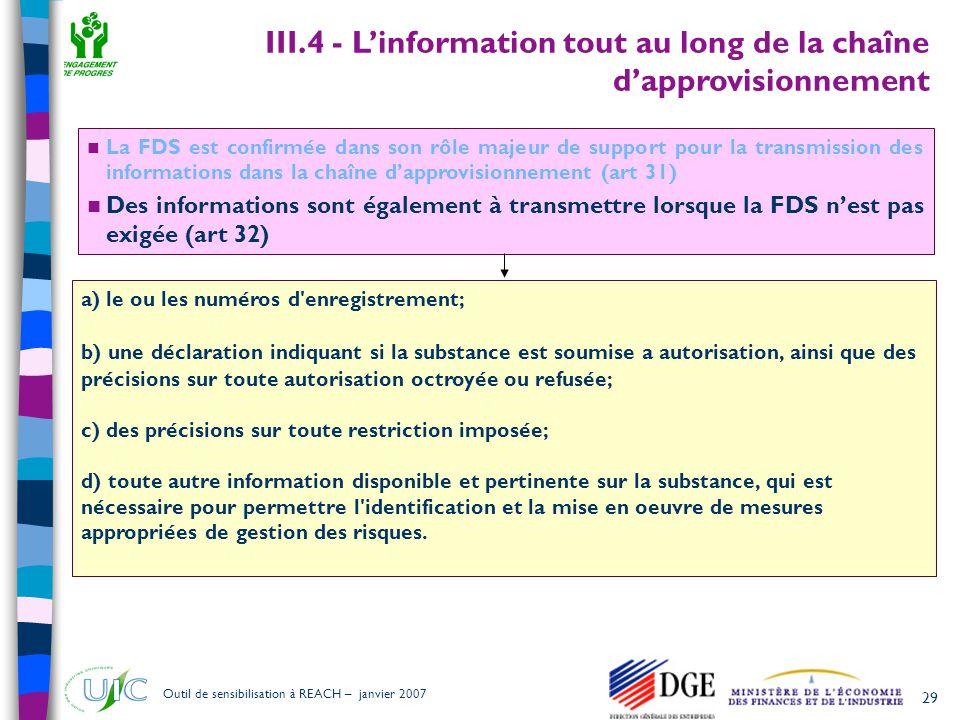29 Outil de sensibilisation à REACH – janvier 2007  La FDS est confirmée dans son rôle majeur de support pour la transmission des informations dans l