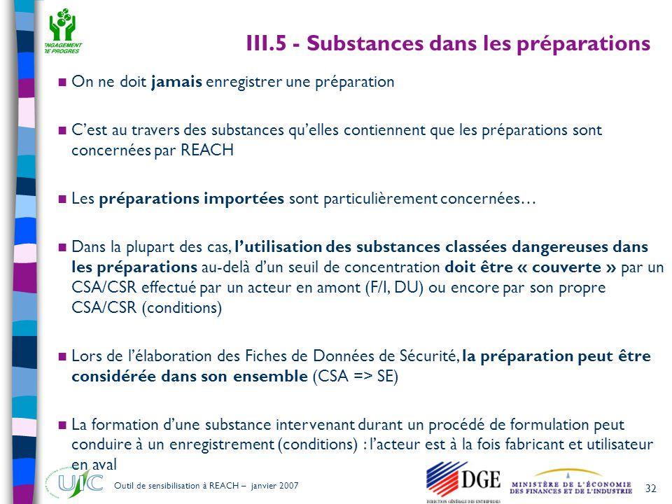 32 Outil de sensibilisation à REACH – janvier 2007  On ne doit jamais enregistrer une préparation  C'est au travers des substances qu'elles contienn