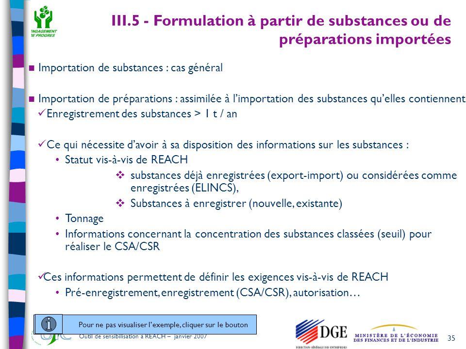 35 Outil de sensibilisation à REACH – janvier 2007  Importation de substances : cas général  Importation de préparations : assimilée à l'importation