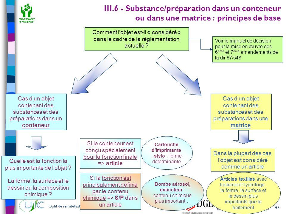 42 Outil de sensibilisation à REACH – janvier 2007 III.6 - Substance/préparation dans un conteneur ou dans une matrice : principes de base Comment l'o