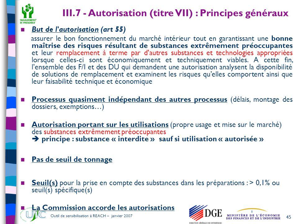 45 Outil de sensibilisation à REACH – janvier 2007  But de l'autorisation (art 55) assurer le bon fonctionnement du marché intérieur tout en garantis