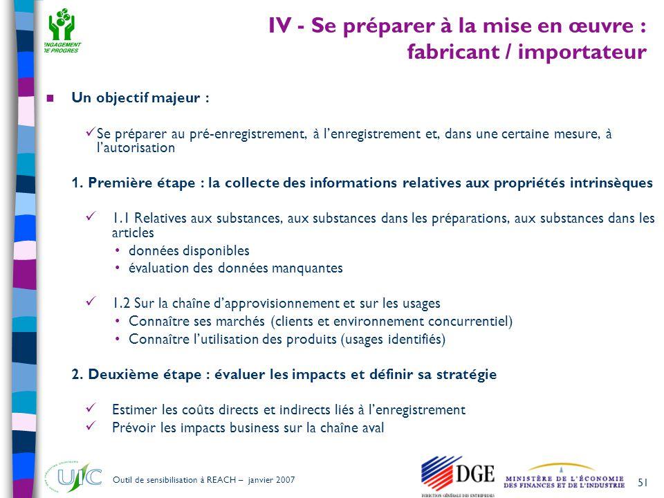 51 Outil de sensibilisation à REACH – janvier 2007 IV - Se préparer à la mise en œuvre : fabricant / importateur  Un objectif majeur :  Se préparer