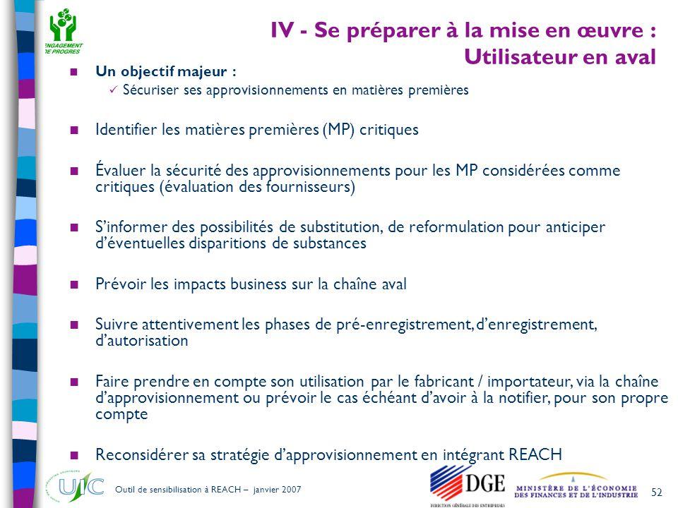 52 Outil de sensibilisation à REACH – janvier 2007 IV - Se préparer à la mise en œuvre : Utilisateur en aval  Un objectif majeur :  Sécuriser ses ap