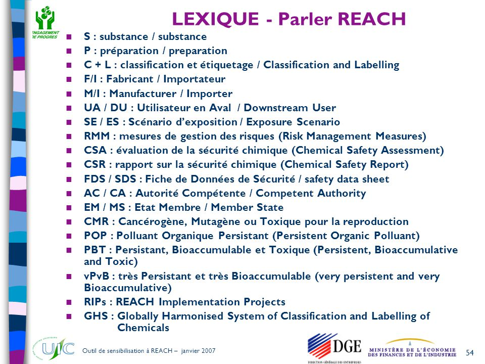 54 Outil de sensibilisation à REACH – janvier 2007 LEXIQUE - Parler REACH  S : substance / substance  P : préparation / preparation  C + L : classification et étiquetage / Classification and Labelling  F/I : Fabricant / Importateur  M/I : Manufacturer / Importer  UA / DU : Utilisateur en Aval / Downstream User  SE / ES : Scénario d'exposition / Exposure Scenario  RMM : mesures de gestion des risques (Risk Management Measures)  CSA : évaluation de la sécurité chimique (Chemical Safety Assessment)  CSR : rapport sur la sécurité chimique (Chemical Safety Report)  FDS / SDS : Fiche de Données de Sécurité / safety data sheet  AC / CA : Autorité Compétente / Competent Authority  EM / MS : Etat Membre / Member State  CMR : Cancérogène, Mutagène ou Toxique pour la reproduction  POP : Polluant Organique Persistant (Persistent Organic Polluant)  PBT : Persistant, Bioaccumulable et Toxique (Persistent, Bioaccumulative and Toxic)  vPvB : très Persistant et très Bioaccumulable (very persistent and very Bioaccumulative)  RIPs : REACH Implementation Projects  GHS : Globally Harmonised System of Classification and Labelling of Chemicals