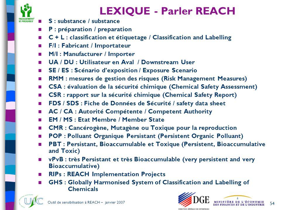 54 Outil de sensibilisation à REACH – janvier 2007 LEXIQUE - Parler REACH  S : substance / substance  P : préparation / preparation  C + L : classi
