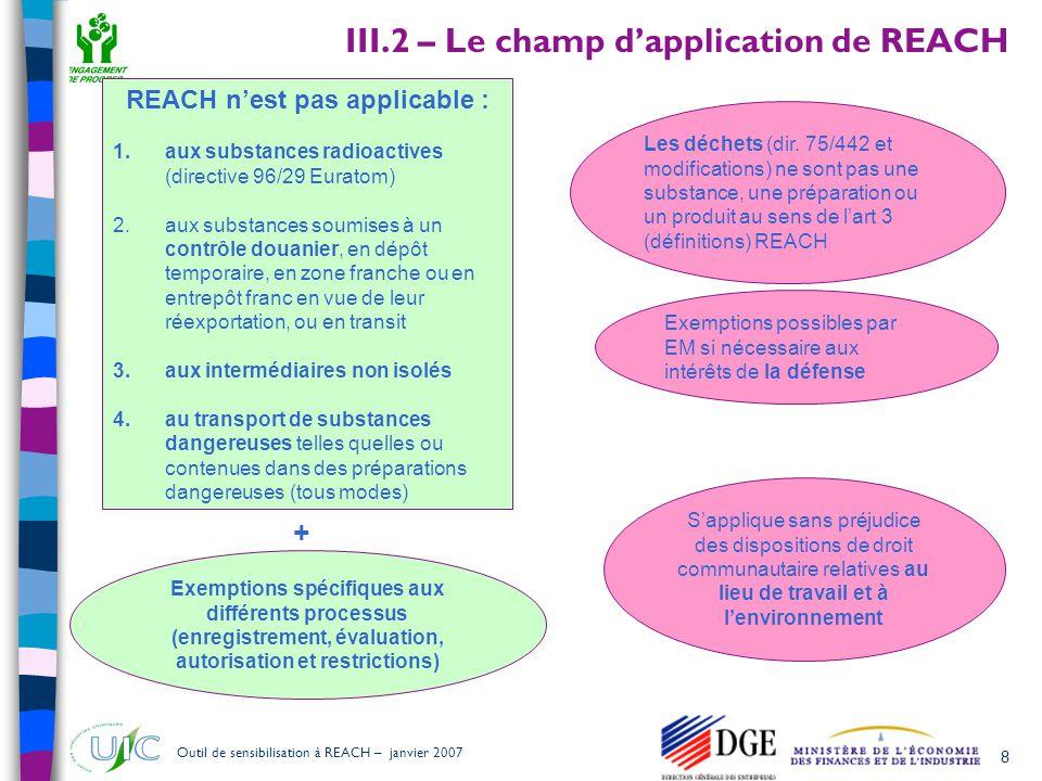 29 Outil de sensibilisation à REACH – janvier 2007  La FDS est confirmée dans son rôle majeur de support pour la transmission des informations dans la chaîne d'approvisionnement (art 31)  Des informations sont également à transmettre lorsque la FDS n'est pas exigée (art 32) a) le ou les numéros d enregistrement; b) une déclaration indiquant si la substance est soumise a autorisation, ainsi que des précisions sur toute autorisation octroyée ou refusée; c) des précisions sur toute restriction imposée; d) toute autre information disponible et pertinente sur la substance, qui est nécessaire pour permettre l identification et la mise en oeuvre de mesures appropriées de gestion des risques.
