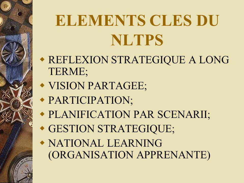 ELEMENTS CLES DU NLTPS  REFLEXION STRATEGIQUE A LONG TERME;  VISION PARTAGEE;  PARTICIPATION;  PLANIFICATION PAR SCENARII;  GESTION STRATEGIQUE;