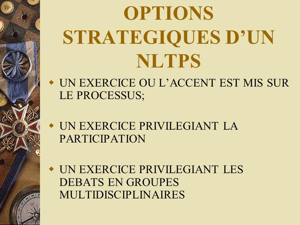OPTIONS STRATEGIQUES D'UN NLTPS  UN EXERCICE OU L'ACCENT EST MIS SUR LE PROCESSUS;  UN EXERCICE PRIVILEGIANT LA PARTICIPATION  UN EXERCICE PRIVILEG