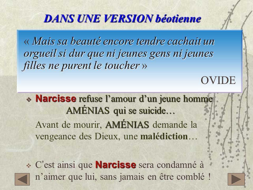  Narcisse refuse l'amour d'un jeune homme AMÉNIAS qui se suicide… AMÉNIAS Avant de mourir, AMÉNIAS demande la vengeance des Dieux, une malédiction… Narcisse  C'est ainsi que Narcisse sera condamné à n'aimer que lui, sans jamais en être comblé .