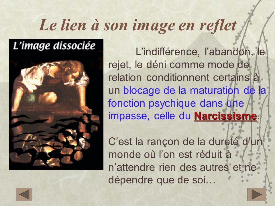Le lien à son image en reflet Narcissisme L'indifférence, l'abandon, le rejet, le déni comme mode de relation conditionnent certains à un blocage de la maturation de la fonction psychique dans une impasse, celle du Narcissisme.