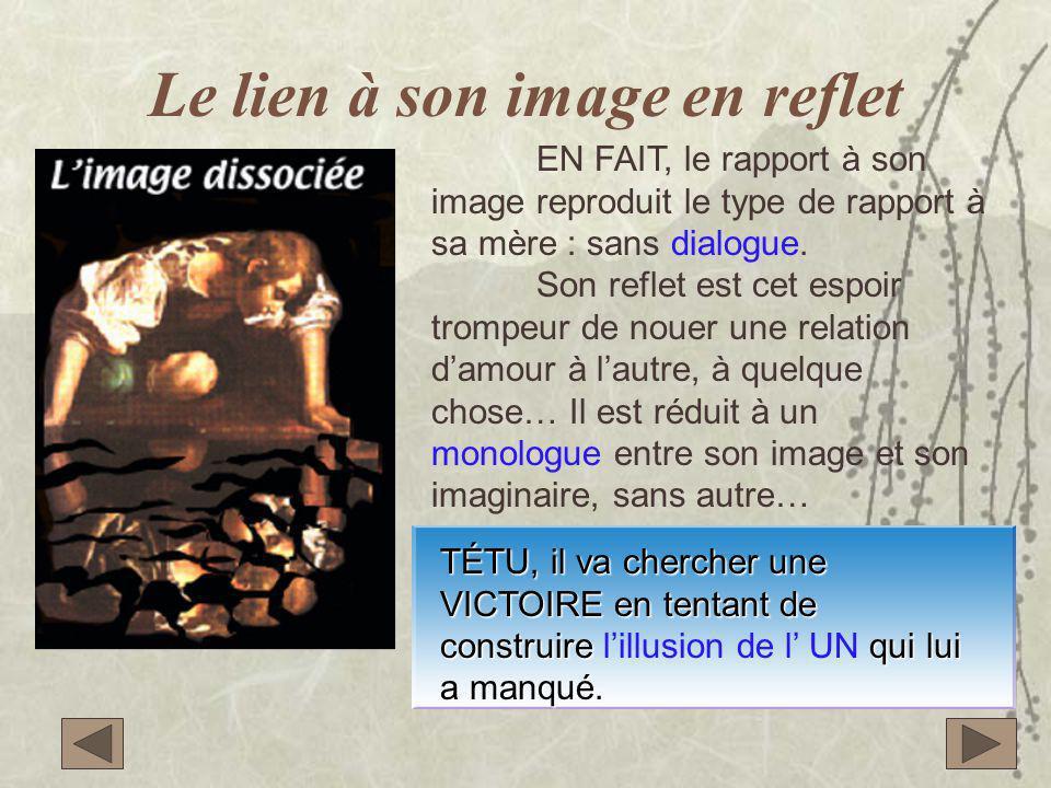 Le lien à son image en reflet EN FAIT, le rapport à son image reproduit le type de rapport à sa mère : sans dialogue. Son reflet est cet espoir trompe