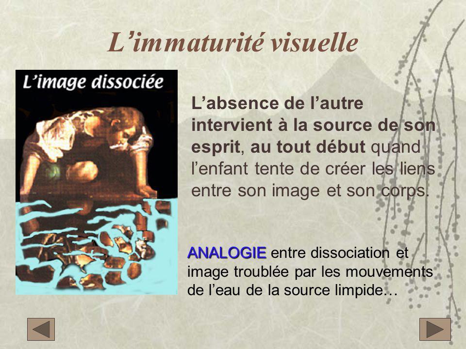 L'immaturité visuelle L'absence de l'autre intervient à la source de son esprit, au tout début quand l'enfant tente de créer les liens entre son image et son corps.