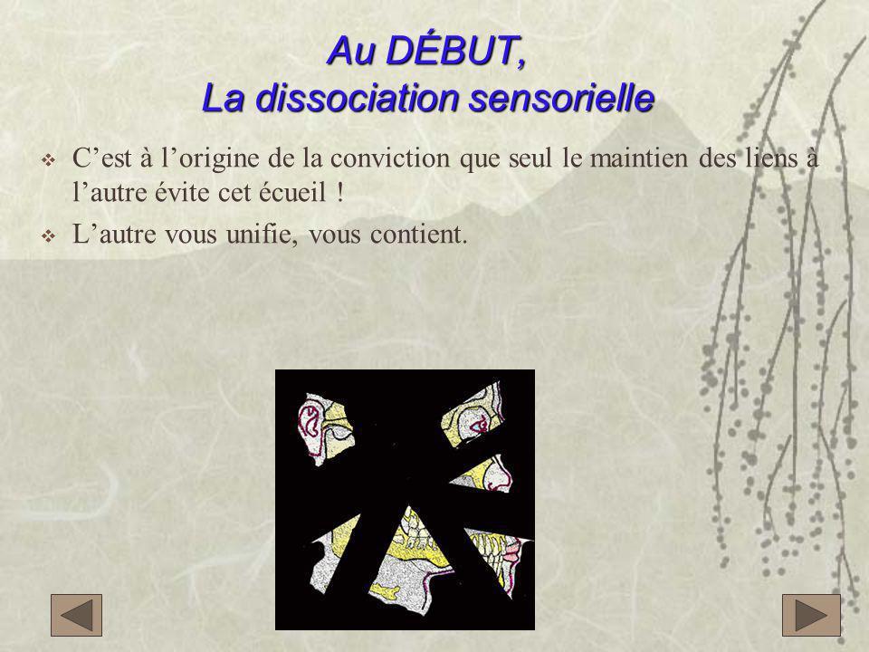 Au DÉBUT, La dissociation sensorielle  C'est à l'origine de la conviction que seul le maintien des liens à l'autre évite cet écueil .