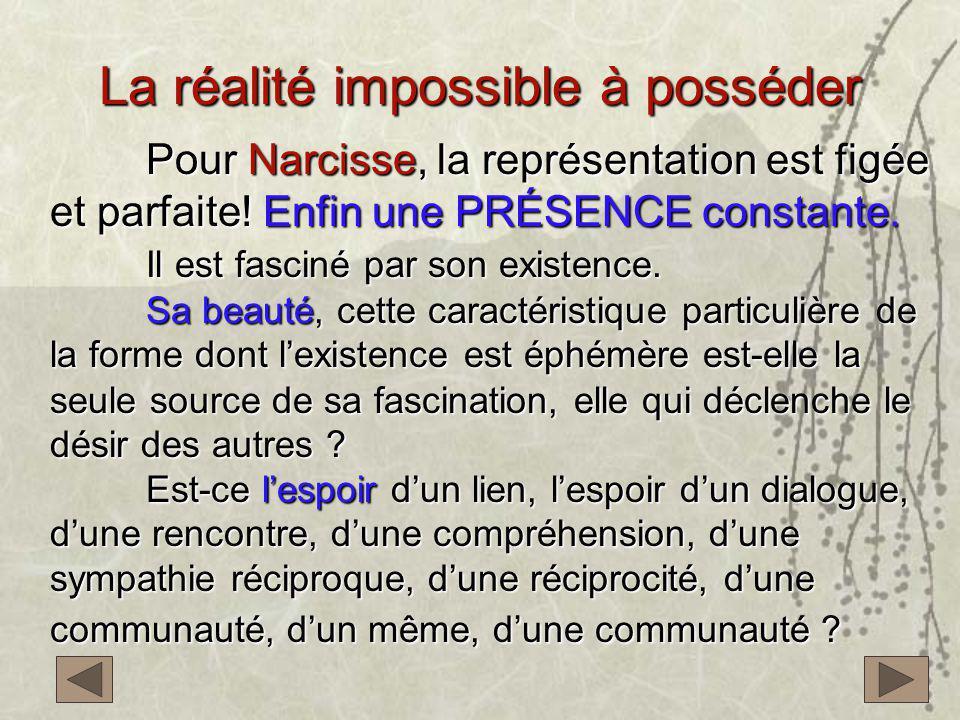 La réalité impossible à posséder Pour Narcisse, la représentation est figée et parfaite! Enfin une PRÉSENCE constante. Il est fasciné par son existenc