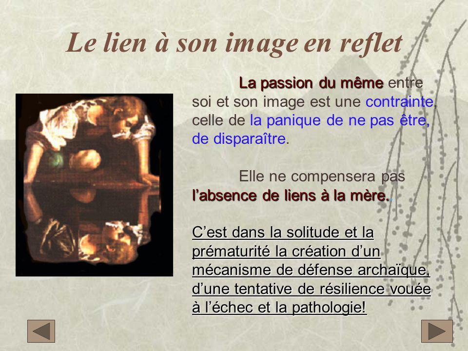 Le lien à son image en reflet La passion du même La passion du même entre soi et son image est une contrainte, celle de la panique de ne pas être, de