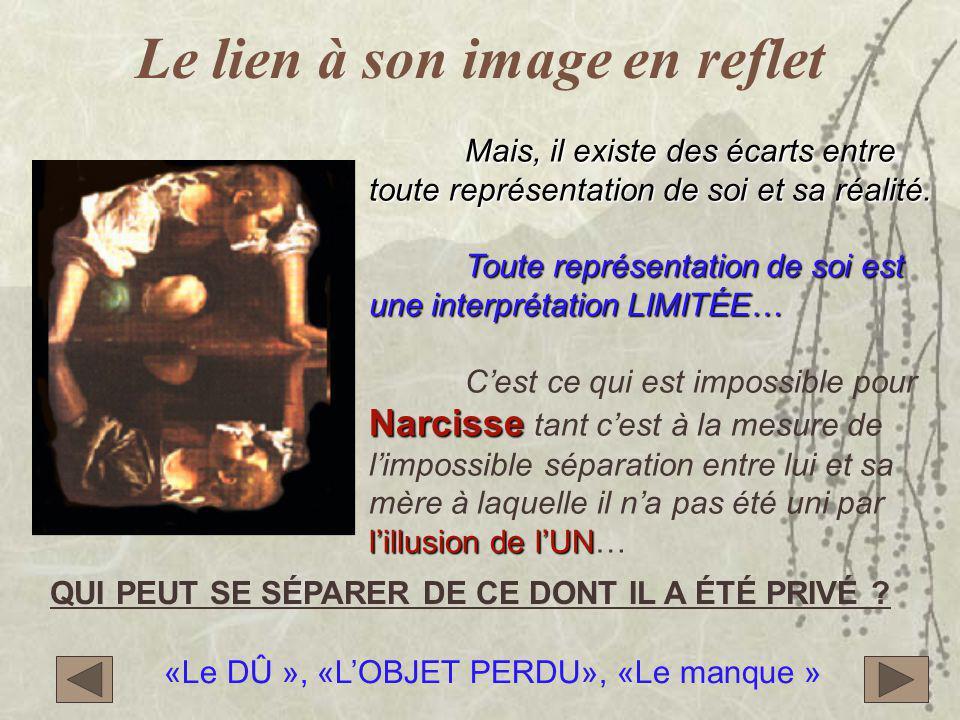 Le lien à son image en reflet Mais, il existe des écarts entre toute représentation de soi et sa réalité.