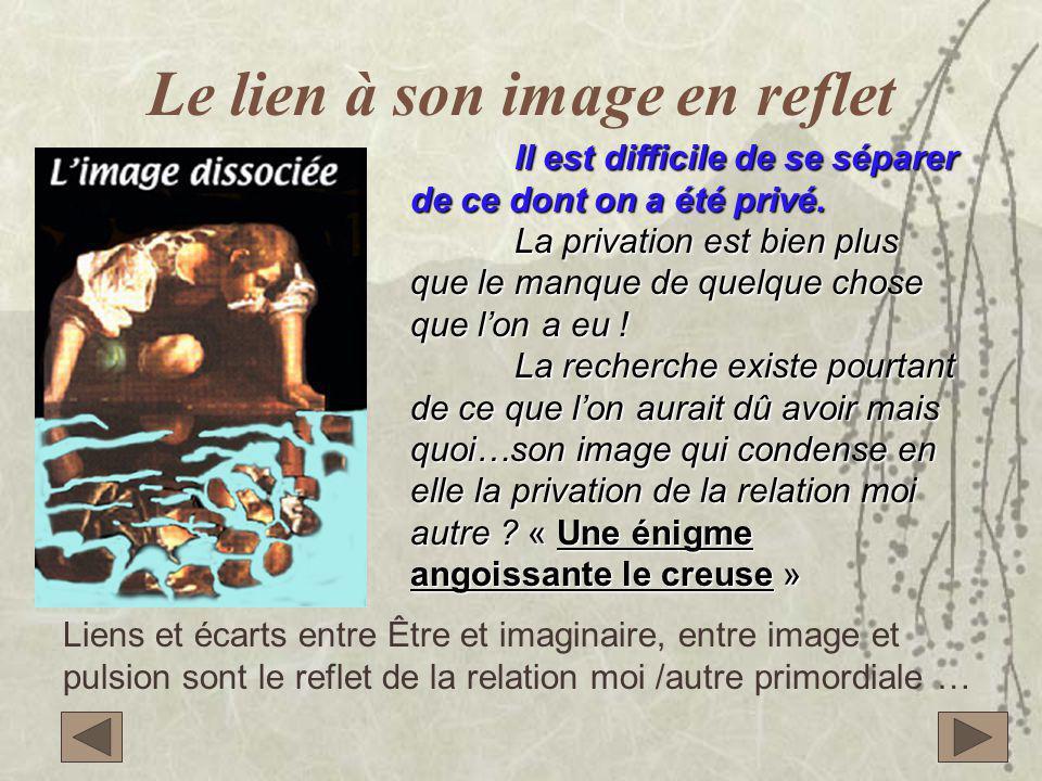 Le lien à son image en reflet Il est difficile de se séparer de ce dont on a été privé.