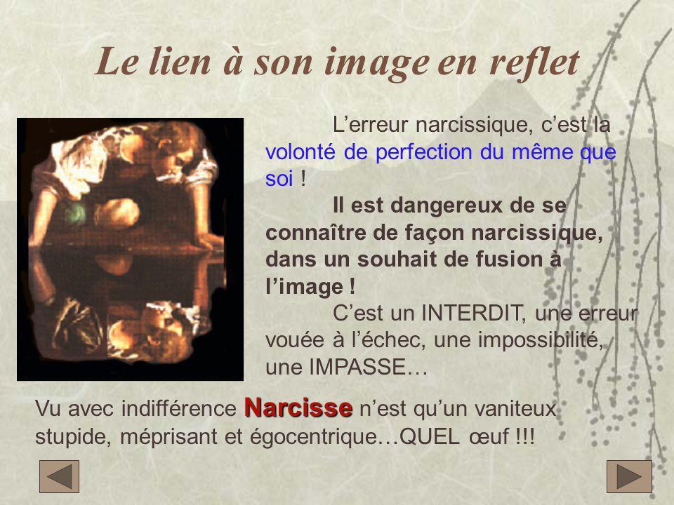 Le lien à son image en reflet L'erreur narcissique, c'est la volonté de perfection du même que soi ! Il est dangereux de se connaître de façon narciss