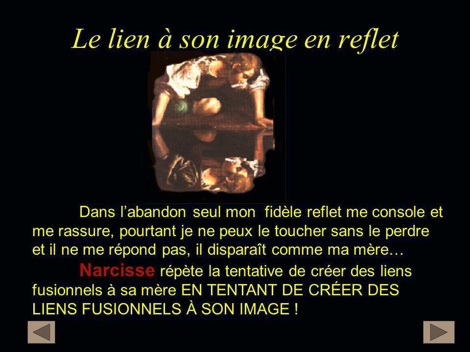 Le lien à son image en reflet Narcisse Dans l'abandon seul mon fidèle reflet me console et me rassure, pourtant je ne peux le toucher sans le perdre e