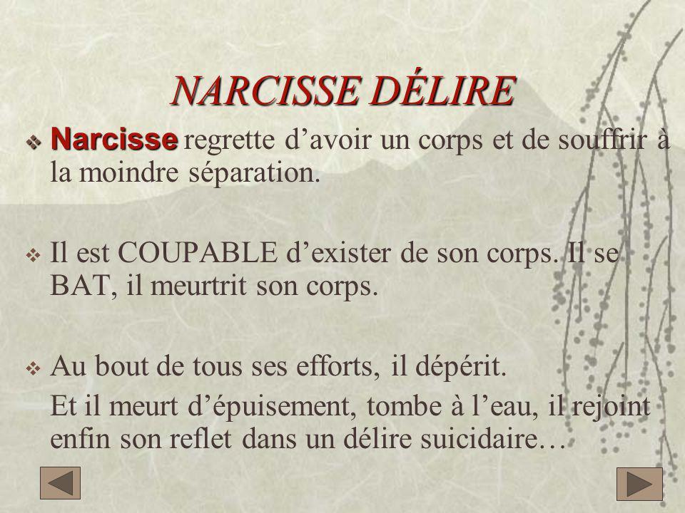 NARCISSE DÉLIRE  Narcisse  Narcisse regrette d'avoir un corps et de souffrir à la moindre séparation.  Il est COUPABLE d'exister de son corps. Il s
