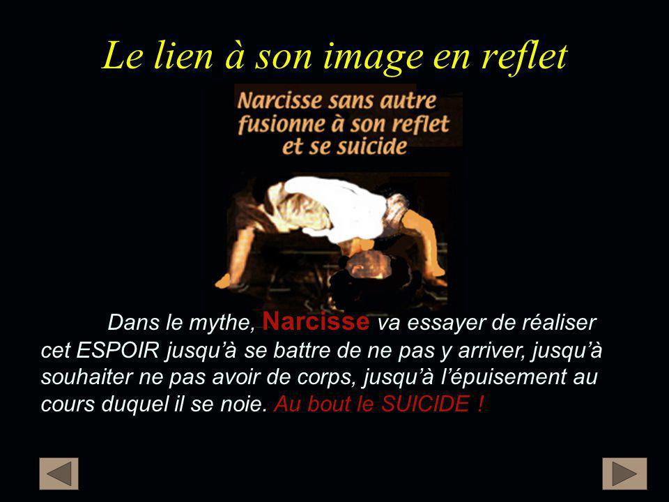 Le lien à son image en reflet Narcisse Au bout le SUICIDE ! Dans le mythe, Narcisse va essayer de réaliser cet ESPOIR jusqu'à se battre de ne pas y ar