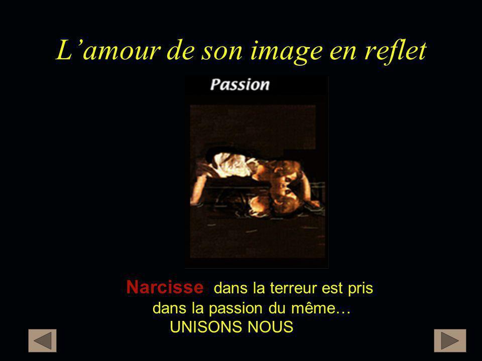 L'amour de son image en reflet Narcisse Narcisse dans la terreur est pris dans la passion du même… UNISONS NOUS