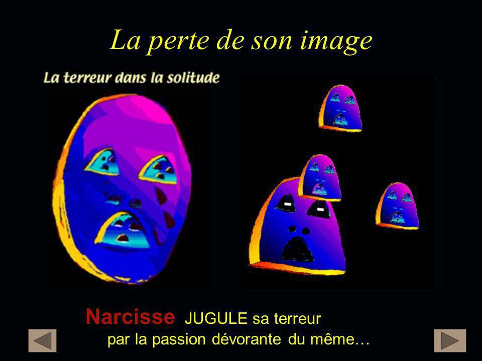 La perte de son image Narcisse Narcisse JUGULE sa terreur par la passion dévorante du même…