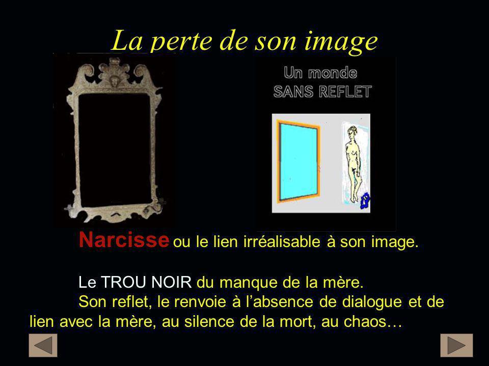 La perte de son image Narcisse Narcisse ou le lien irréalisable à son image. TROU NOIR Le TROU NOIR du manque de la mère. Son reflet, le renvoie à l'a