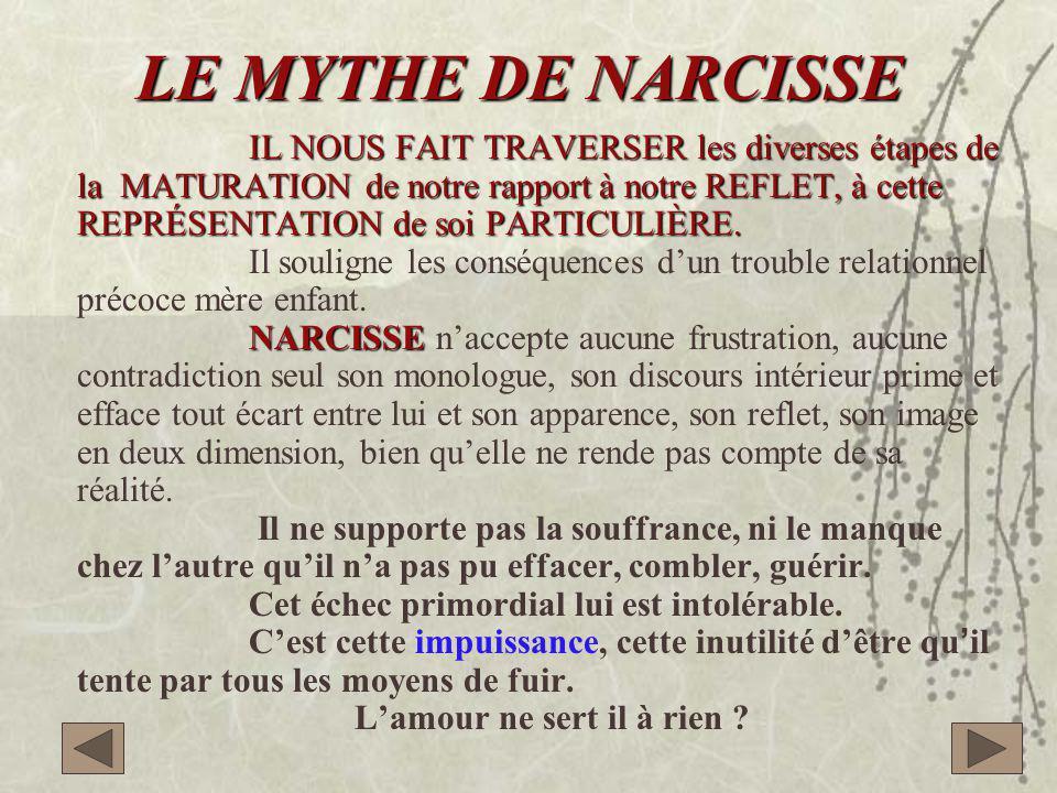 LE MYTHE DE NARCISSE IL NOUS FAIT TRAVERSER les diverses étapes de la MATURATION de notre rapport à notre REFLET, à cette REPRÉSENTATION de soi PARTICULIÈRE.