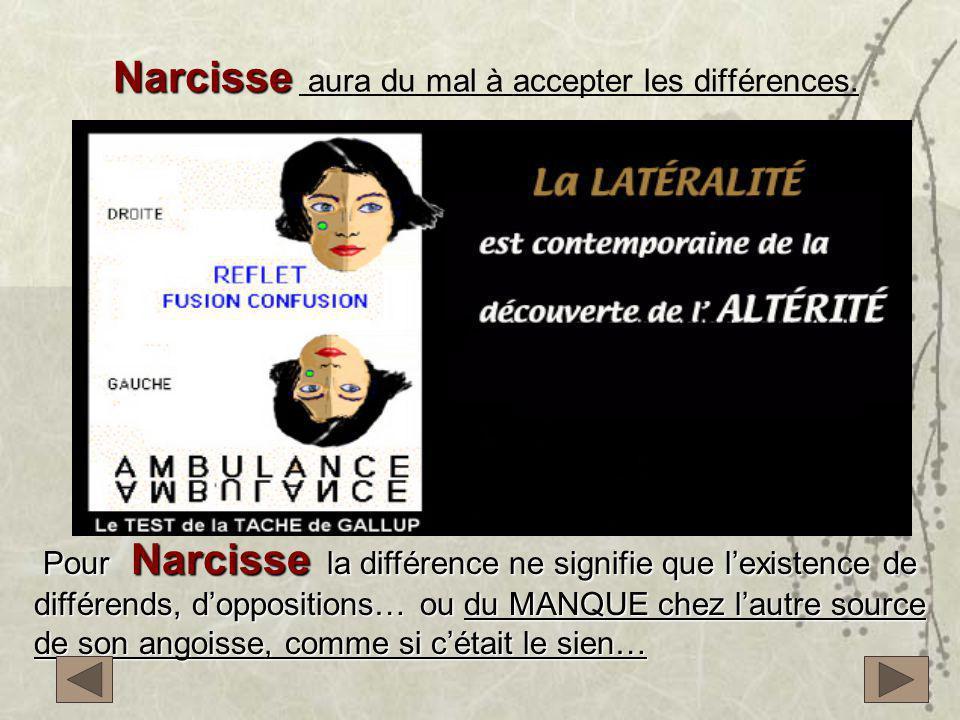 Narcisse Narcisse aura du mal à accepter les différences. Pour Narcisse la différence ne signifie que l'existence de différends, d'oppositions… ou du