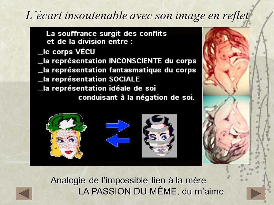 L'écart insoutenable avec son image en reflet Analogie de l'impossible lien à la mère LA PASSION DU MÊME, du m'aime