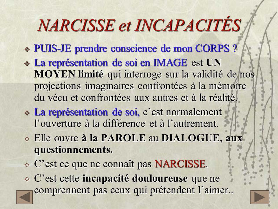 NARCISSE et INCAPACITÉS  PUIS-JE prendre conscience de mon CORPS .