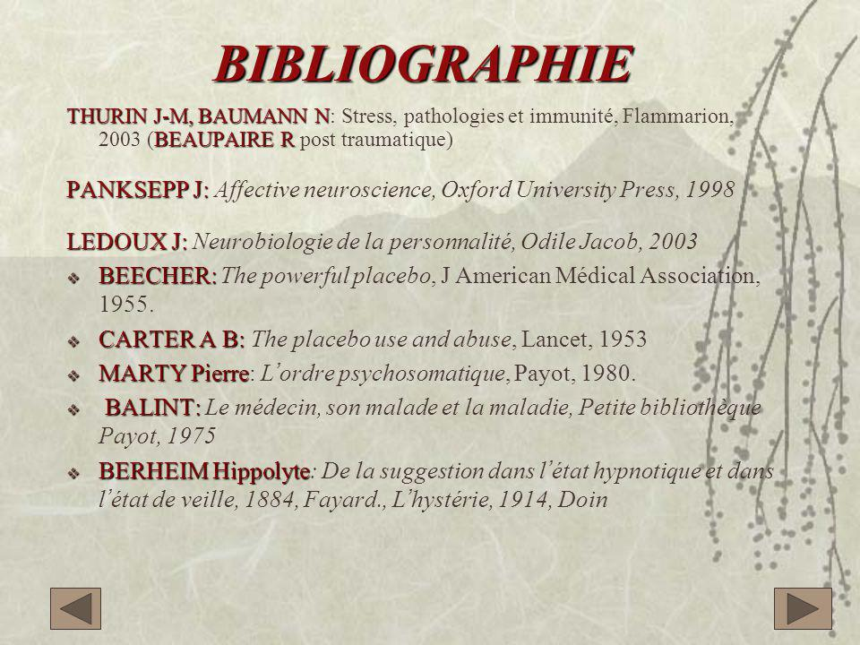 BIBLIOGRAPHIE THURIN J-M, BAUMANN N BEAUPAIRE R THURIN J-M, BAUMANN N: Stress, pathologies et immunité, Flammarion, 2003 (BEAUPAIRE R post traumatique) PANKSEPP J: PANKSEPP J: Affective neuroscience, Oxford University Press, 1998 LEDOUX J: LEDOUX J: Neurobiologie de la personnalité, Odile Jacob, 2003  BEECHER:  BEECHER: The powerful placebo, J American Médical Association, 1955.